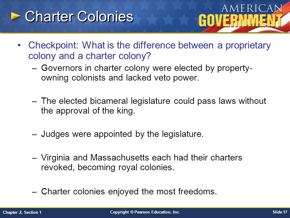 Charter Colonies Checkpoint: What is the difference between a proprietary colony and a charter colony