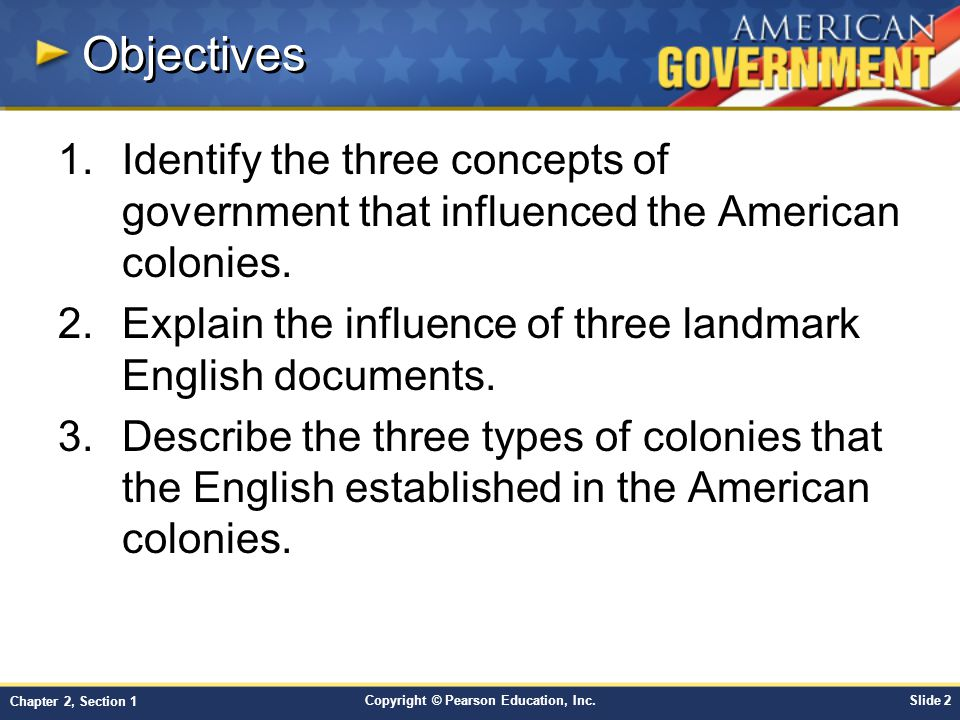 Objectives Identify the three concepts of government that influenced the American colonies.