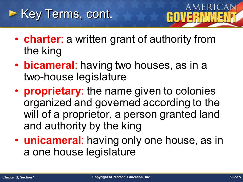 Key Terms, cont. charter: a written grant of authority from the king
