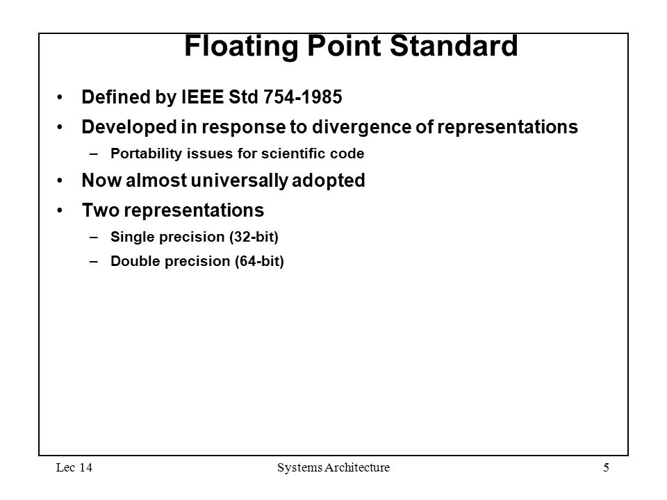Systems architecture lecture 14 floating point arithmetic for Ieee definition