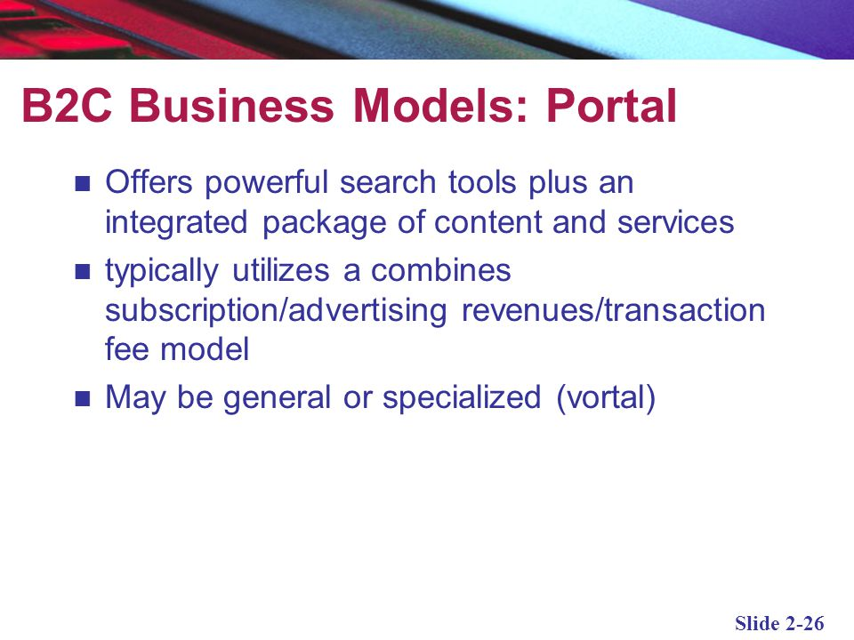 B2C Business Models: Portal