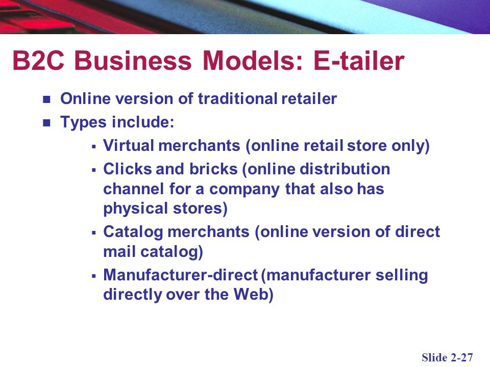 B2C Business Models: E-tailer