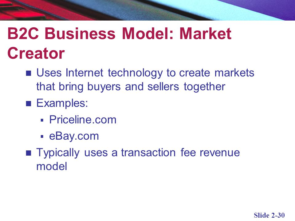 B2C Business Model: Market Creator