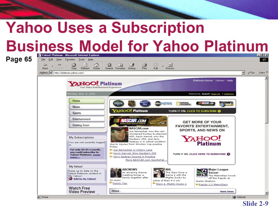 Yahoo Uses a Subscription Business Model for Yahoo Platinum
