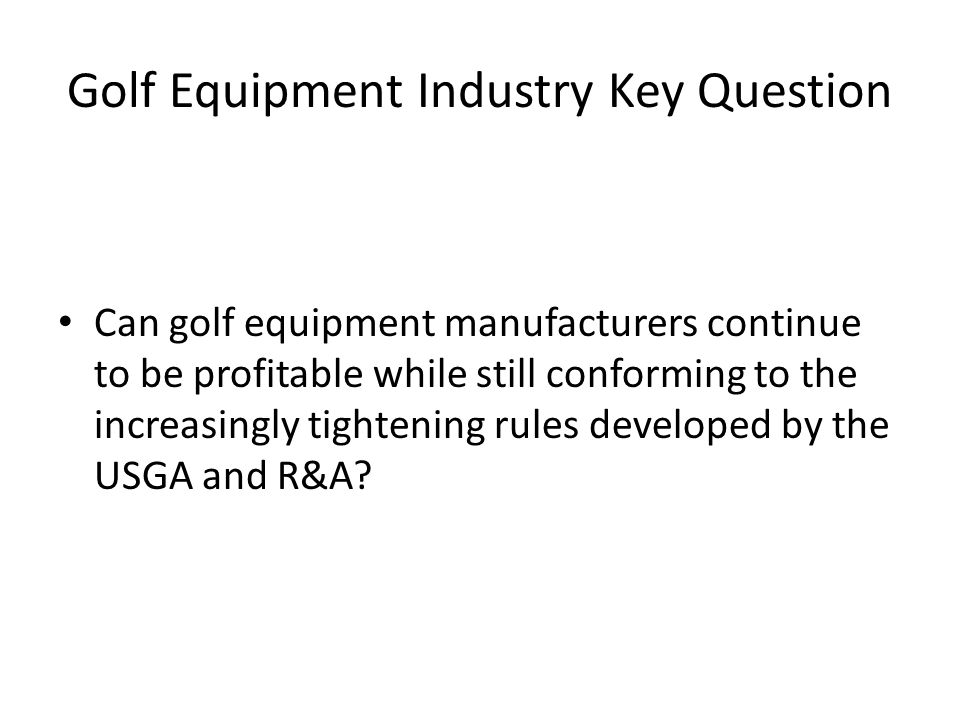 Golf Industry Report