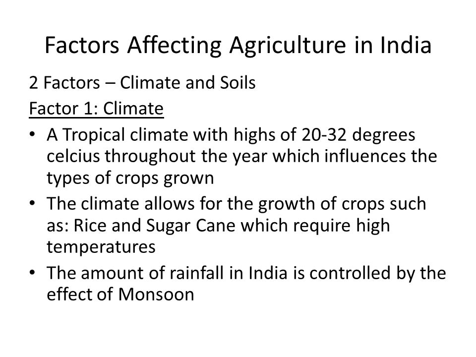 Factors Affecting Agriculture in India