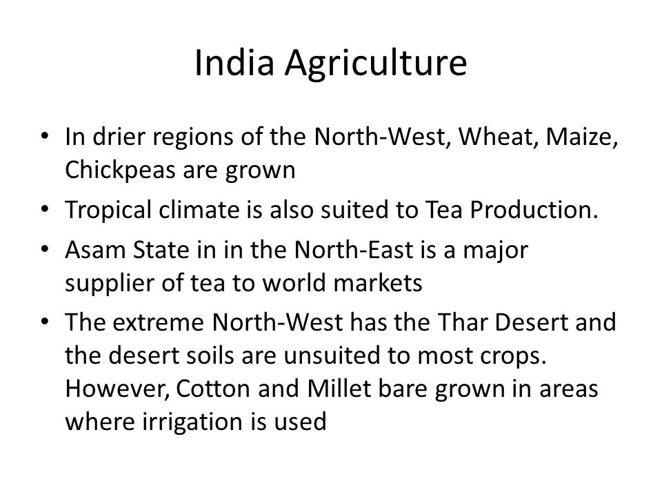 India Agriculture In drier regions of the North-West, Wheat, Maize, Chickpeas are grown. Tropical climate is also suited to Tea Production.