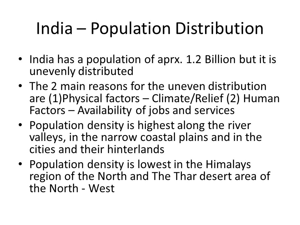 India – Population Distribution