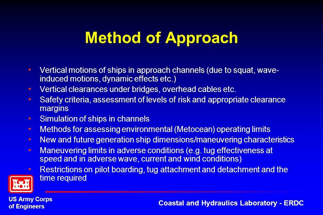 Method of Approach Vertical motions of ships in approach channels (due to squat, wave-induced motions, dynamic effects etc.)