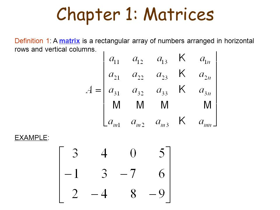Chapter 1: Matrices Definition 1: A matrix is a rectangular array of numbers arranged in horizontal rows and vertical columns.