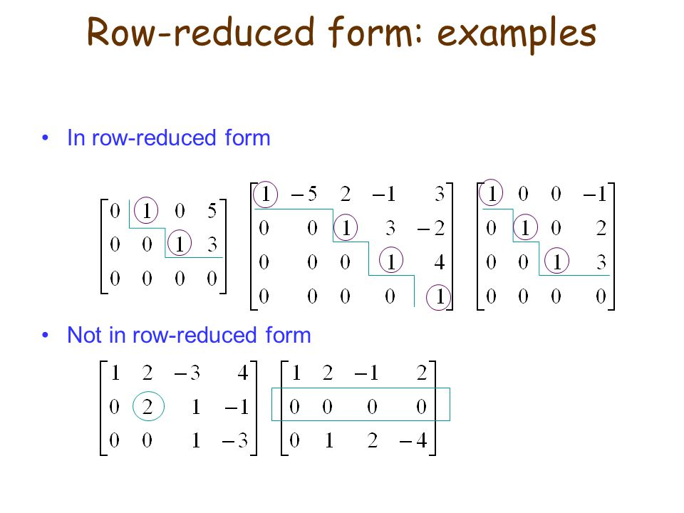 Row-reduced form: examples