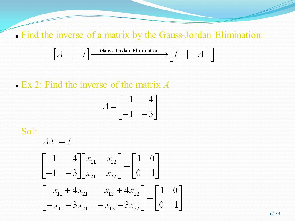 Find the inverse of a matrix by the Gauss-Jordan Elimination: