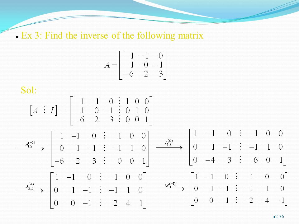 Ex 3: Find the inverse of the following matrix