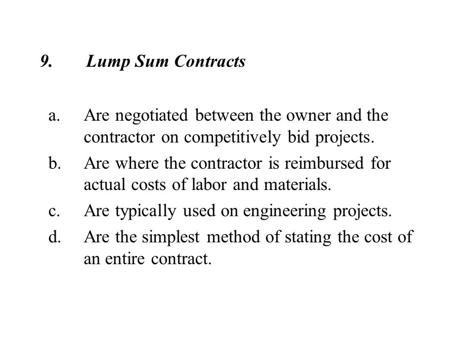 lump sum construction contract pdf