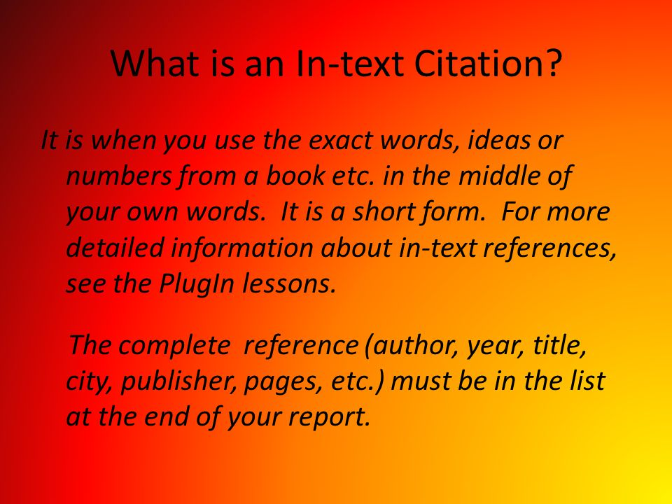 What is an In-text Citation