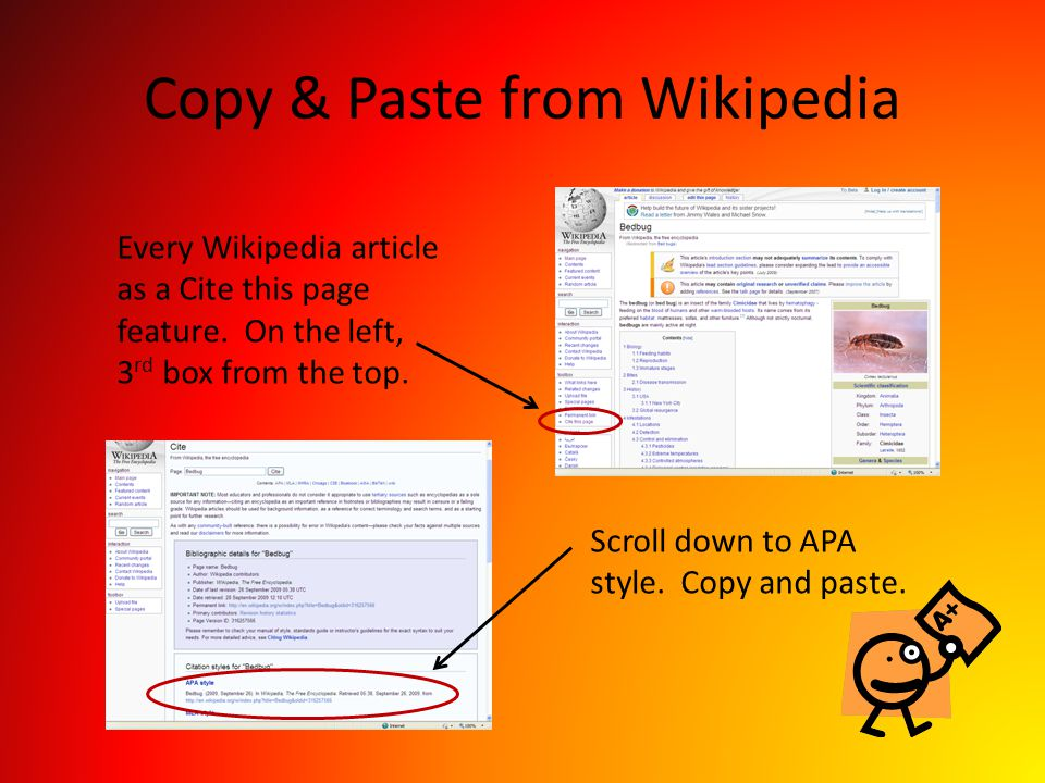 Copy & Paste from Wikipedia