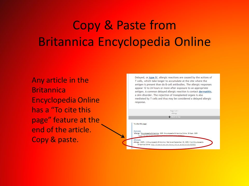 Copy & Paste from Britannica Encyclopedia Online