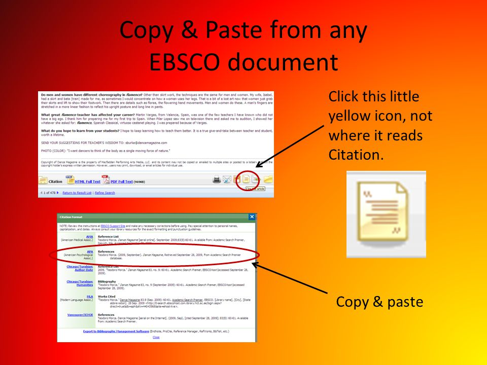 Copy & Paste from any EBSCO document