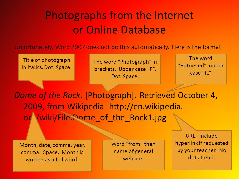 Photographs from the Internet or Online Database