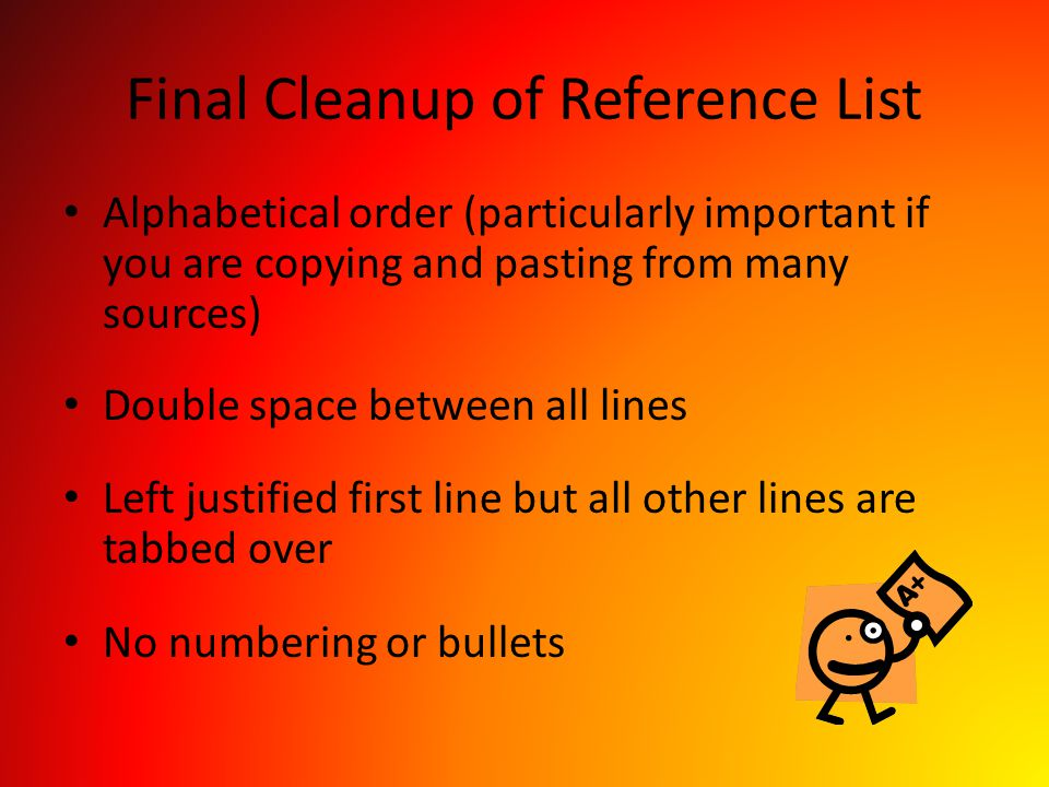 Final Cleanup of Reference List