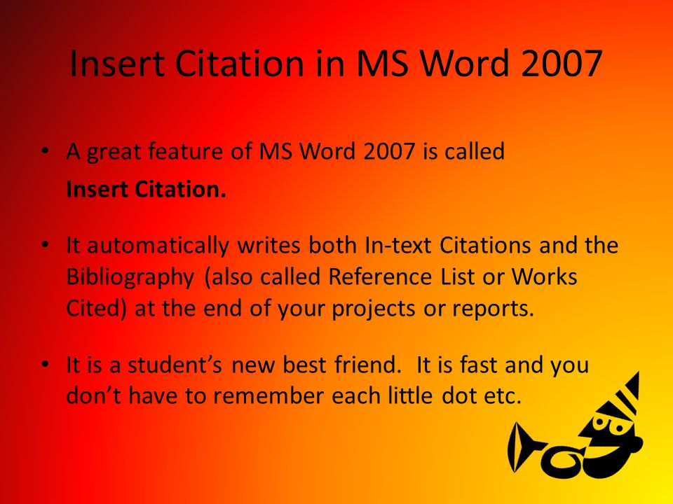 Insert Citation in MS Word 2007