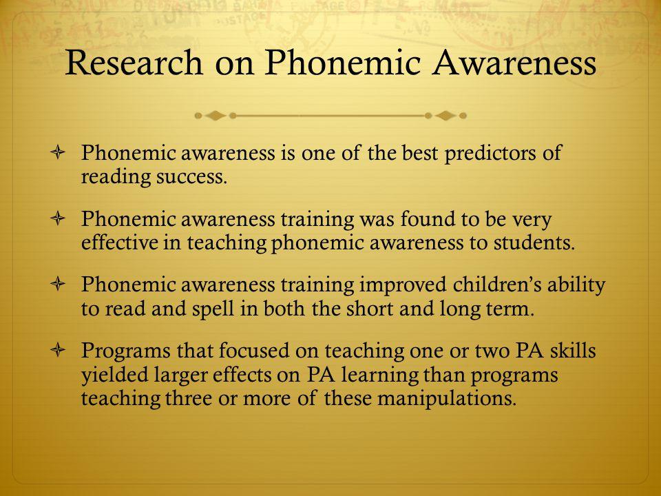 Research on Phonemic Awareness