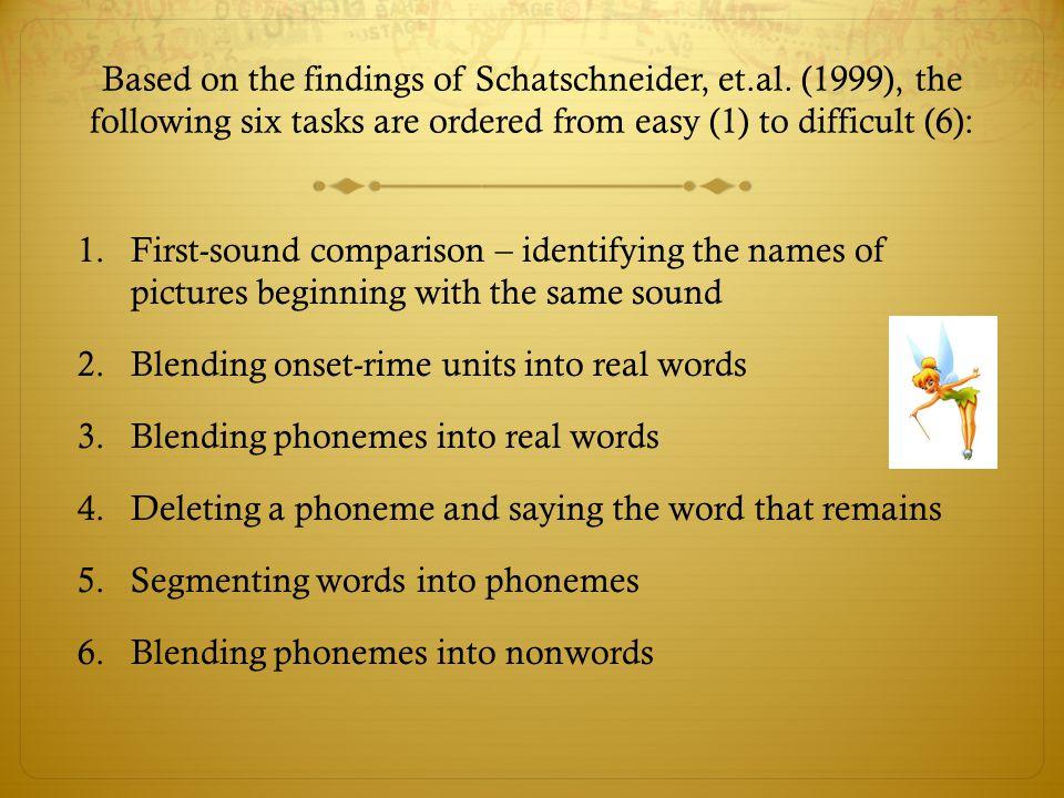 Based on the findings of Schatschneider, et. al