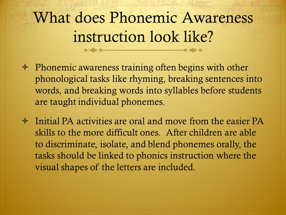 What does Phonemic Awareness instruction look like