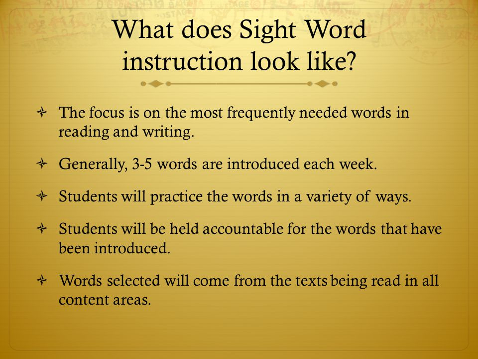 What does Sight Word instruction look like