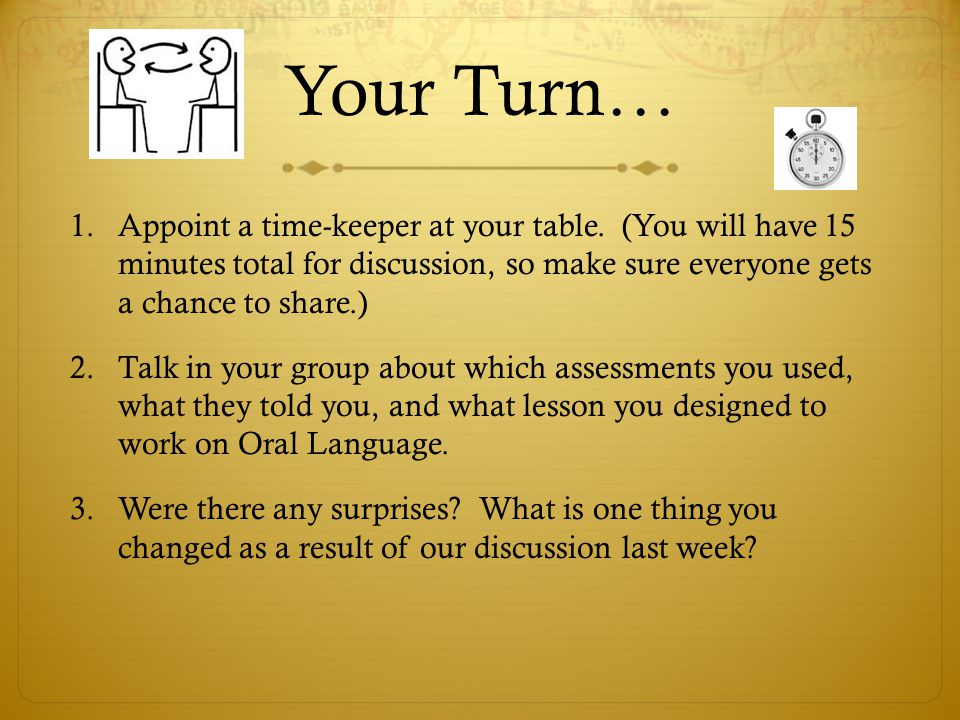 Your Turn… Appoint a time-keeper at your table. (You will have 15 minutes total for discussion, so make sure everyone gets a chance to share.)