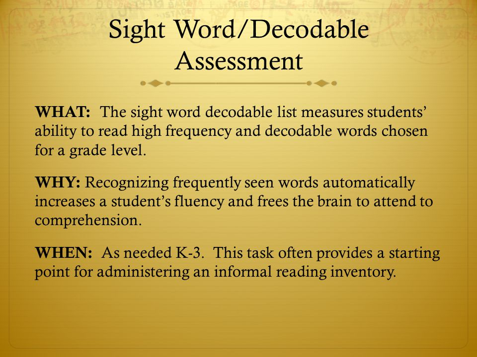 Sight Word/Decodable Assessment