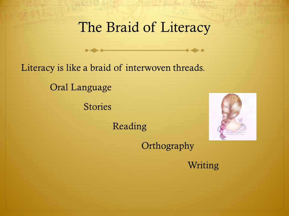 The Braid of Literacy Literacy is like a braid of interwoven threads.