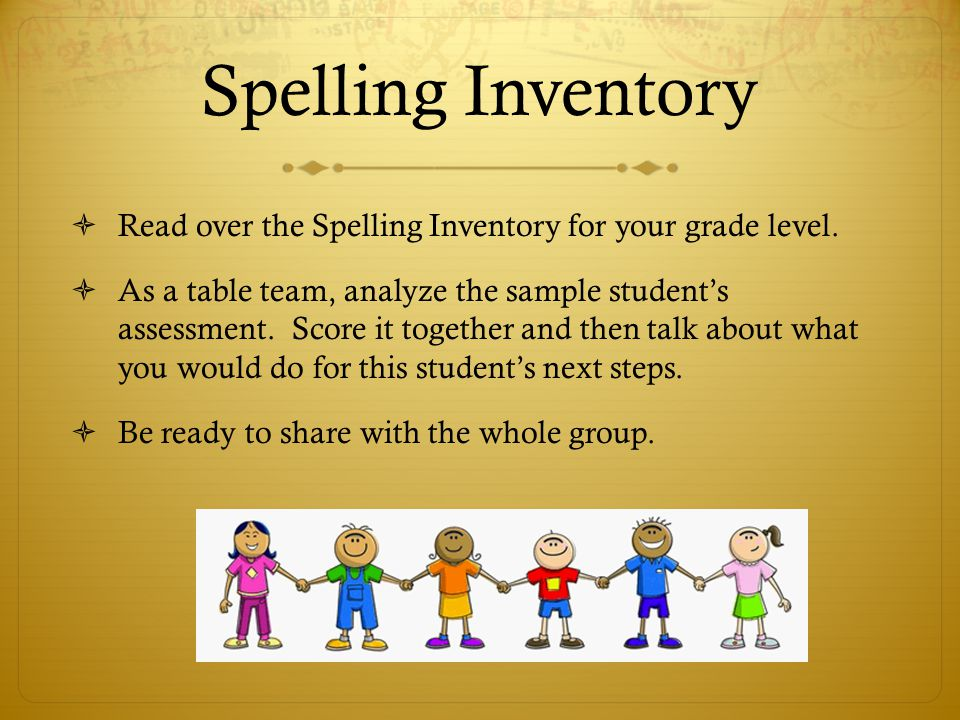 Spelling Inventory Read over the Spelling Inventory for your grade level.