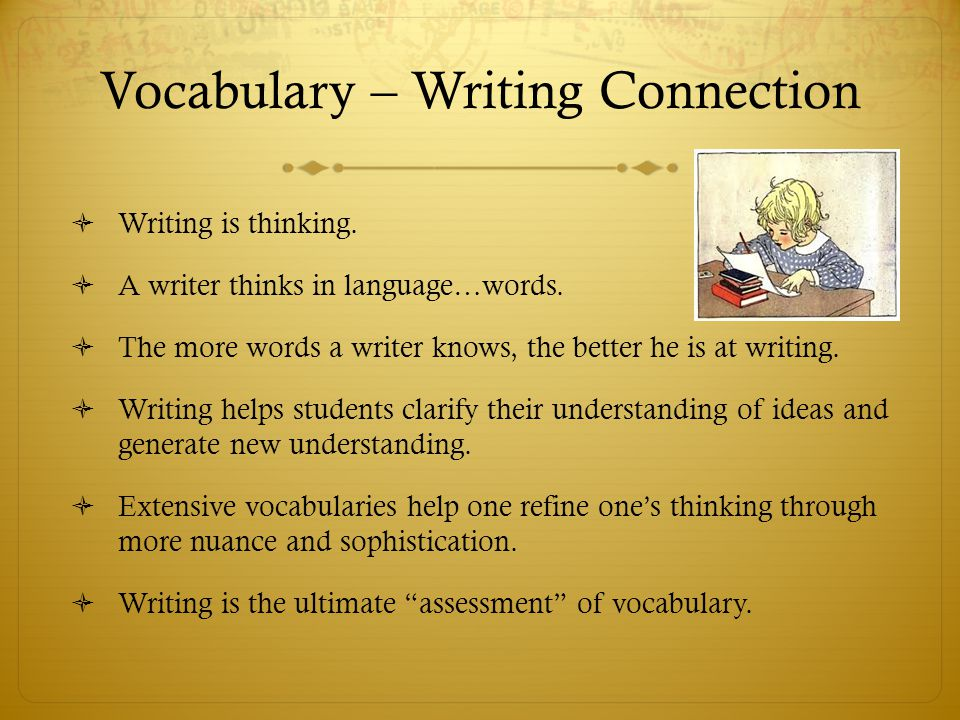 Vocabulary – Writing Connection