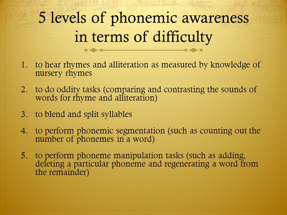5 levels of phonemic awareness in terms of difficulty