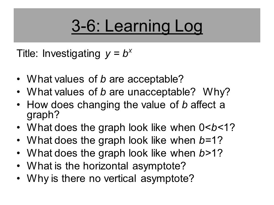 3-6: Learning Log Title: Investigating y = bx