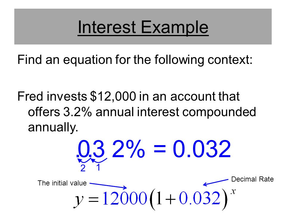 Interest Example Find an equation for the following context: