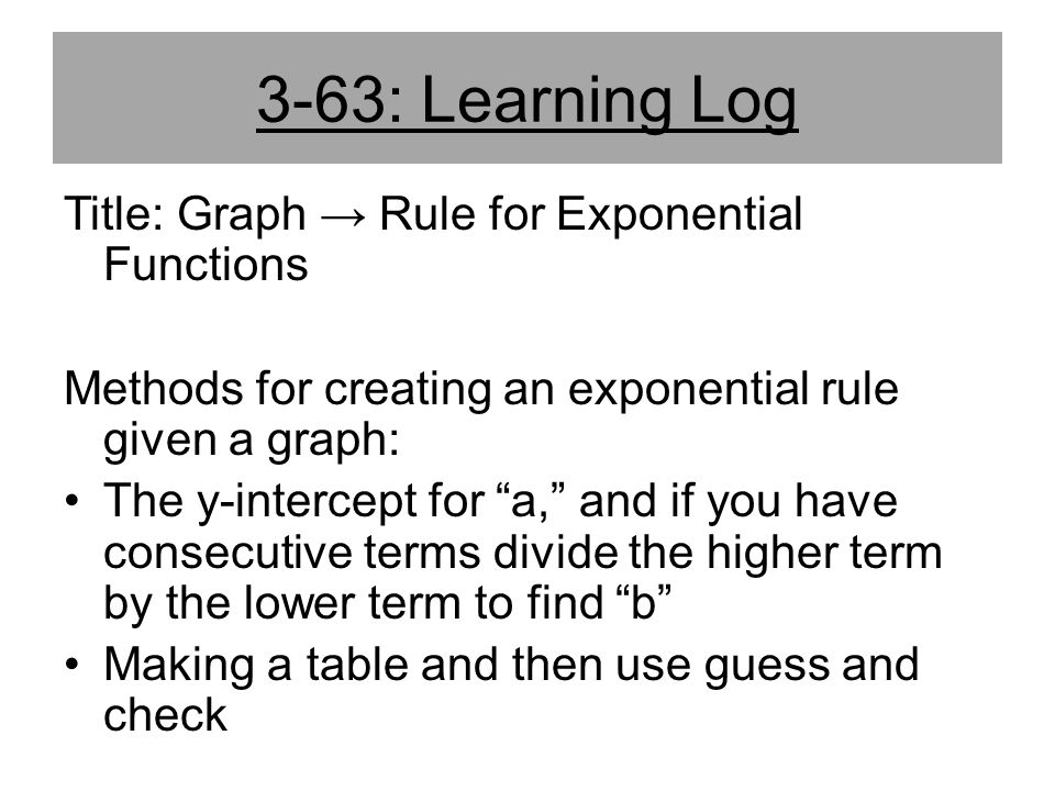 3-63: Learning Log Title: Graph → Rule for Exponential Functions