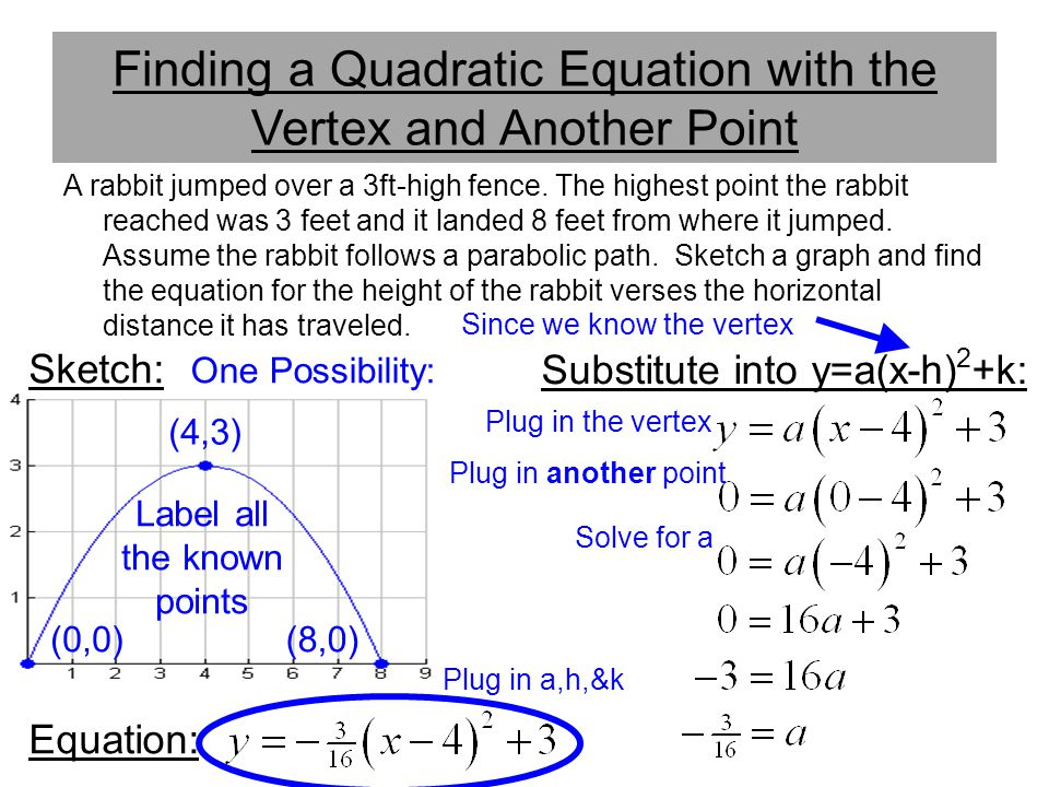 Finding a Quadratic Equation with the Vertex and Another Point