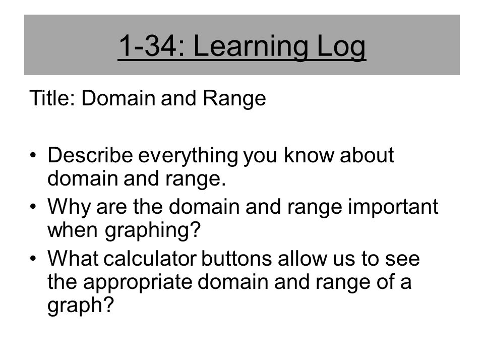 1-34: Learning Log Title: Domain and Range