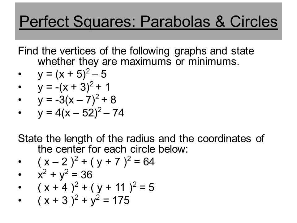 Perfect Squares: Parabolas & Circles