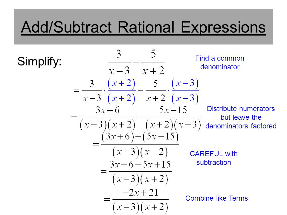 Add/Subtract Rational Expressions