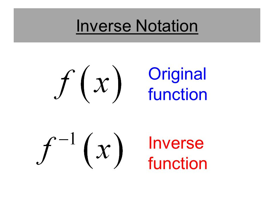 Inverse Notation Original function Inverse function