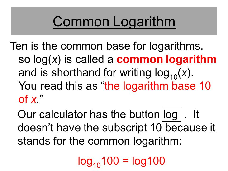 Common Logarithm
