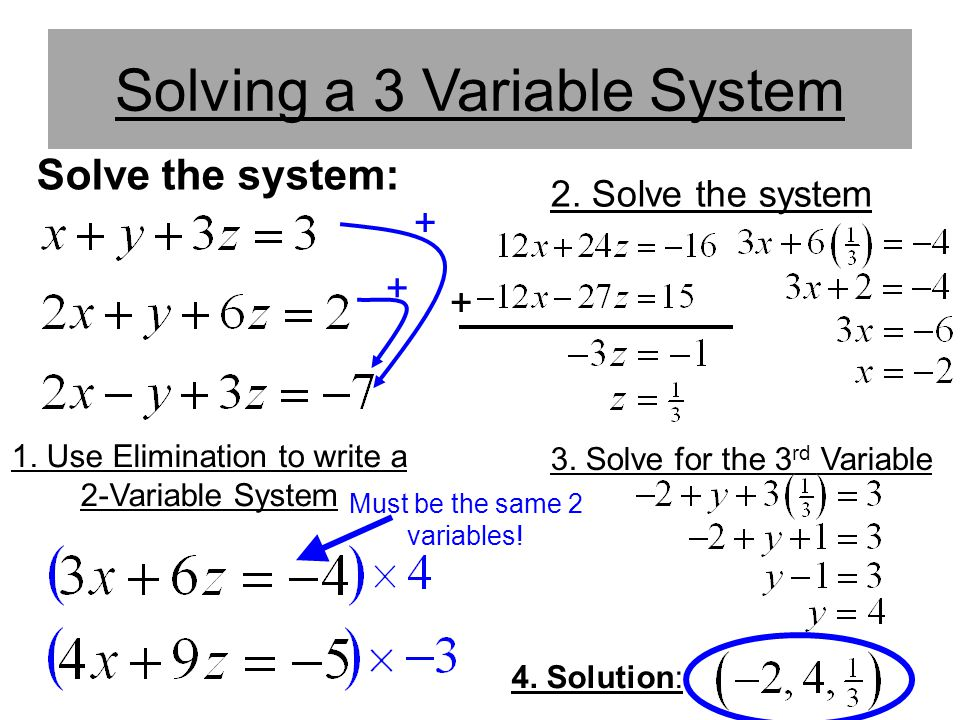 Solving a 3 Variable System
