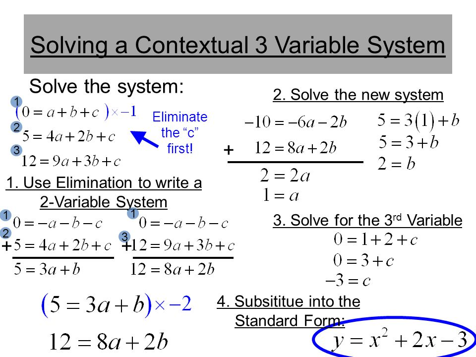 Solving a Contextual 3 Variable System