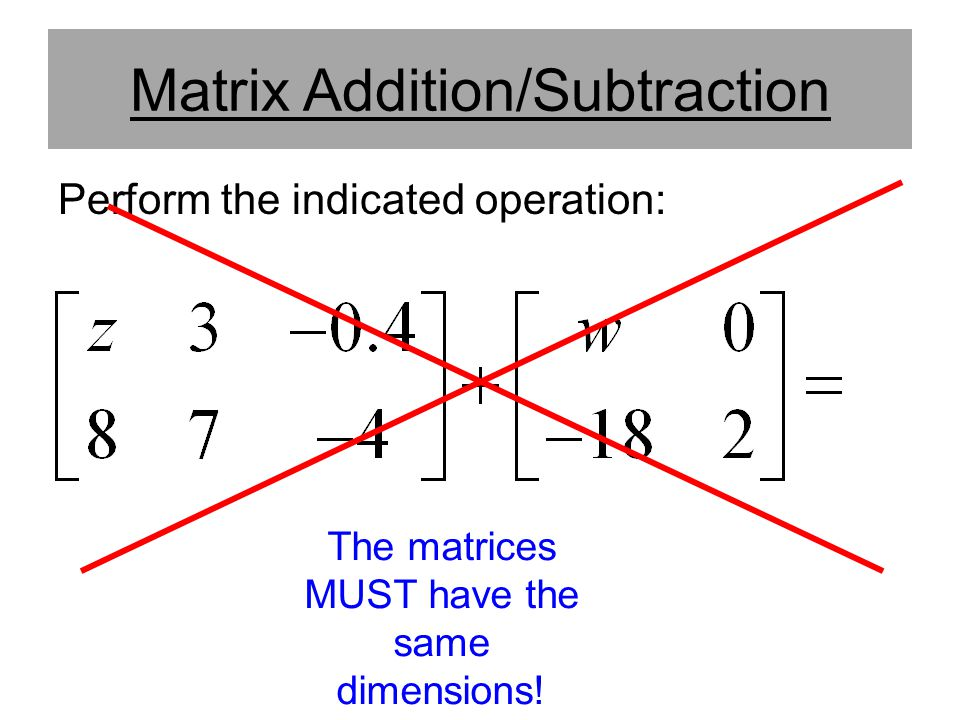 Matrix Addition/Subtraction