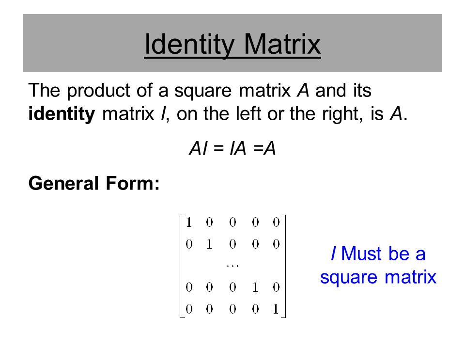 I Must be a square matrix