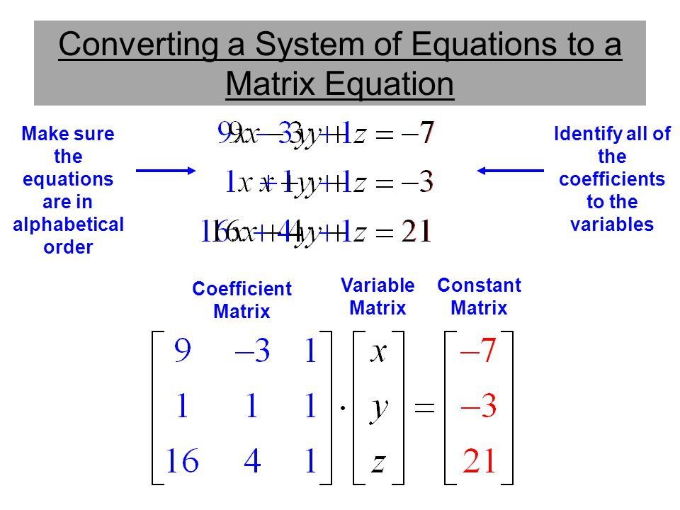 Converting a System of Equations to a Matrix Equation