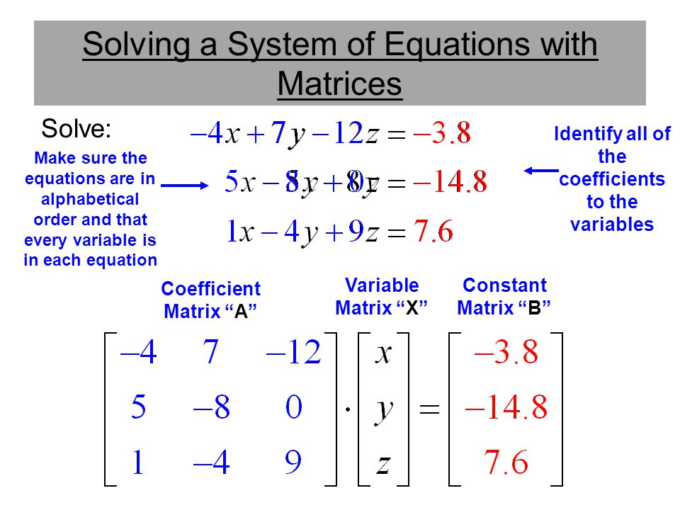 Solving a System of Equations with Matrices